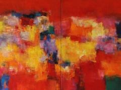 """Hiroshi Matsumoto paveikslas """"2015 - 3"""", paveikslo formatas 145, 4 X 72, 7 cm. Drobė, aliejus. Japonija."""