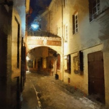 "Gintautas Skuodas. Photograph from the serie ""Painting vision"". The Old Town of Kaunas. Panoramic photograph. The photograph is printed on the canvas. With underframe. 70 X 50 cm. Price 110 Eur."