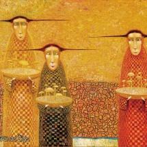 Arūnas Žilys. ''Picker of grapes''. Size 150 X 60 cm. 1998.