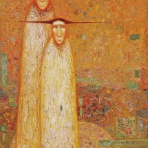 Arūnas Žilys. ''With a red bird''. Size 150 X 60 cm. 2000.