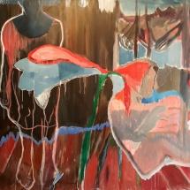 Audronė Petrašiūnaitė. ''Hollyhock''. 2011. Size 30 X 30 cm. Canvas, oil.