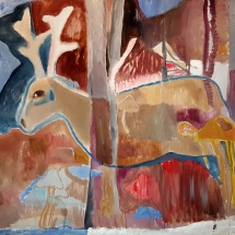 Audronė Petrašiūnaitė. ''Deer of the autumn''. 2015. Size 130 X 160 cm. Canvas, oil.