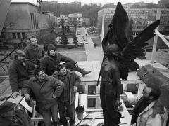 Romualdas Požerskis.  Fotografija. Paminklo atstatymas. 1989-02-10.