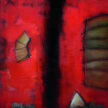 Audrius Gražys. ''In red''. Canvas, oil. Size 100 X 200 cm. 1997-1999.
