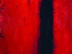 """Audrius Gražys  """"Juoda vertikali, raudona 1998 m. Drobe, aliejus 190 X 180 cm."""