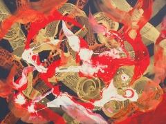 """Rita Rimšienė paveikslas iš ciklo """"Minčių skaitiniai XII"""", drobė, akrilas, 110X150 cm. 2017 m"""