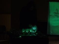 Fragmentai iš Alio Balbieriaus parodos iš ledo ir stiklo taurių muzikinio performanco fotografavo Jurgita Ragaišienė