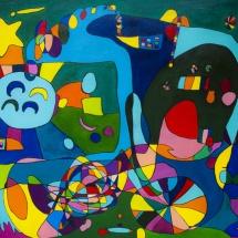 Raminta Ardzevičienė. ''Four Moons''. Canvas, oil. Size 80 X 70 cm. 2015. Price 500 Eur.