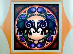 """Asta Keraitienė mandala """"Du drambliai"""" matmenys 15X15 cm. reprodukcija, rėmai, originalas stiklas kaina 100 Eur."""