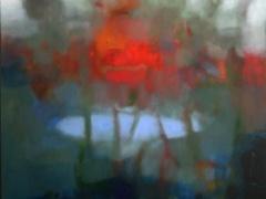 """Giedra Purlytė """"Ežero mėlynumas"""" 60X60 cm. drobė, aliejus, kaina 270 Eur."""