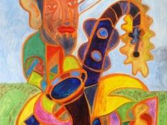 """Tobias Biering """"Džiazininkas""""  100 X 70 cm.  drobė, aliejus 2017 m. Kaina 945 Eur."""