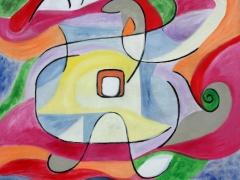 """Tobias Biering """"Kelionės"""" 90X 100 cm. drobė, aliejus, 2016 m. Kaina 1215 Eur."""