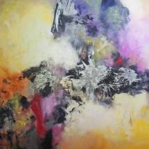 Rita Rimšienė. ''The oasis of nature''. Canvas, mixed technique. Size 100 X 80 cm. 2015. Price 750 Eur.