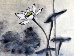 """Ina Loreta Savickienė """"Lotosas"""" matmenys 36X47 cm. Kaina 621 Eur. 2017 m. Tušas ir mineraliniai dažai ant ryžių popieriaus, klijuota ant putų kartono."""
