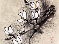 """Ina Loreta Savickienė """"Žydinčios magnolijos"""" matmenys 36X45 cm. Kaina 486 Eur. 2017 m.Tušas ir mineraliniai dažai ant ryžių popieriaus, klijuota ant putų kartono."""