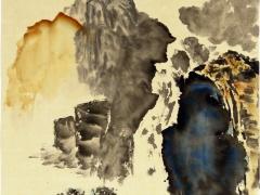 """Ina Loreta Savickienė """"Mėlyni kalnai"""" matmenys 34X45 cm. Kaina 486 Eur. 2016 m Tušas ir mineraliniai dažai ant ryžių popieriaus, klijuota ant putų kartono.."""