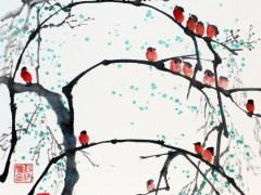 """Ina Loreta  Savickienė """"21 paukštelis"""" atlikimo technika tušas ir mineraliniai dažai ant ryžių popieriaus ant klijuoto kartono. Matmenys 34 X 34 cm. Kaina 489 Eur. 2017 m. Tušas ir mineraliniai dažai ant ryžių popieriaus, klijuota ant putų kartono."""