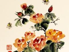 """Ina Loreta  Savickienė """"Rožės ir bitės"""" matmenys 34X35 cm, atlikimo technika tušas ir mineraliniai dažai ant ryžių popieriaus, klijuota ant kartono, kaina 324 Eur. 2017 m. Tušas ir mineraliniai dažai ant ryžių popieriaus, klijuota ant putų kartono."""