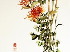 """Ina Loreta Savickienė """"Diptikas su chrizantemomis"""". Oranžinės chrizantemos. Atlikimo technika , tušas ir mineraliniai dažai ant ryžių, klijuota ant putų kartono. Matmenys 47 X 69 cm. Kaina 486 Eur.  2016 m."""