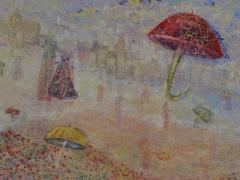 """Zita Virginija Tarasevičienė """"Lietuje"""" paveikslo matmenys 130X150 cm. Paveikslo kaina 550 Eur."""