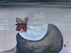"""Zita Virginija Tarasevičienė """"Kaukė"""" paveikslo matmenys 1X 70 cm. paveikslo kaina 600 Eur."""