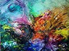 "Erika Petunovienė (Aytė) ""Nocturne"" paveikslo matmenys 120X 100 cm. Kaina 472 Eur."