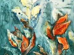 """Margarita Adomavičienė """"Įšalas"""" paveikslo matmenys 50X50 cm. Paveikslo kaina 205 Eur."""