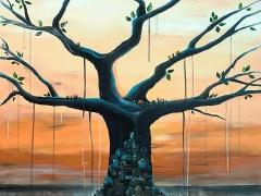 """Margarita Adomavičienė """"Giminės medis"""" paveikslo matmenys 90X 90 cm."""
