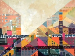 """Margarita Adomavičienė """"Miestas 3"""" paveikslo matmenys 80X 100 cm. Paveikslo kaina 475 Eur."""