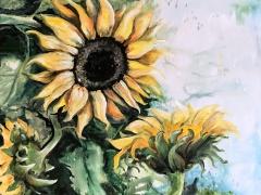"""Margarita Adomavičienė """"Saulėgrąžos"""" paveikslo matmenys 60X 70 cm. Paveikslo kaina 245 Eur."""