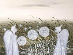 """Viktorija Jasinskaitė-Bobina """"Gamtos lengvumo plazdelyje """"draugystės galia"""" paveikslo matmenys 100 X 60 cm. paveikslo kaina 360 Eur."""
