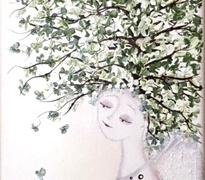 """Viktorija Jasinskaitė-Bobina """"Šviesus angelas su žaliu medžiu"""" paveikslo matmenys 20X60 cm. Paveikslo kaina 140 Eur."""