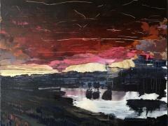 Jolanta Sausdravienė 'Tas vakaras' paveikslo matmenys 70X90 cm. drobė, akrilas, paveikslo kaina 170 Eur.