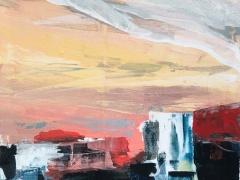 """Jolanta Sausdravienė """"Mano miesto muzika' paveikslo matmenys 60X80 cm. paveikslo kaina 170 Eur. 2016 m."""