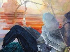 Jolanta Sausdravienė 'Palankus vėjas' paveikslo matmenys 70X70 cm. drobė, akrilas, paveikslo kaina 230 Eur. 2018 m.