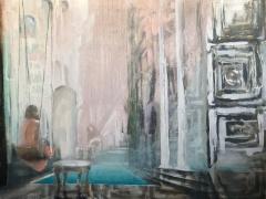 """Jolanta Sausdravienė """"Siesta. Miglotos svajos'' paveikslo matmenys70X90 cm.  drobė, akrilas, kaina 230 Eur."""