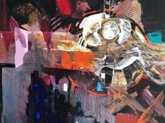 Jolanta Sausdravienė ''Sms 2018'''paveikslo matmenys 80X80 cm. drobė, akrilas, paveikslo kaina 270 Eur.