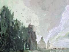Jolanta Sausdravienė ''Savaitgalis'' paveikslo matmenys 70X70 cm.drobė, akrilas paveikslo kaina 163 Eur. 2017 m.