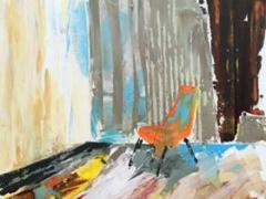 """Jolanta Sausdravienė ''Optimistas"""" paveikslo matmenys 60X60 cm. drobė, akrilas, paveikslo kaina 125 Eur. 2017 m."""