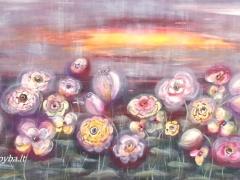 Viktorija Jasinskaitė-Bobina 'Vakariniame rūke'' paveikslo formatas50X100 cm. Paveikslo kaina 480 Eur.