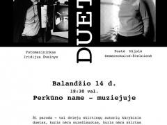 """I. Švelnio ir N. Demereckaitės Švelnienės parodos Dueto"""" parodos  plakatas"""