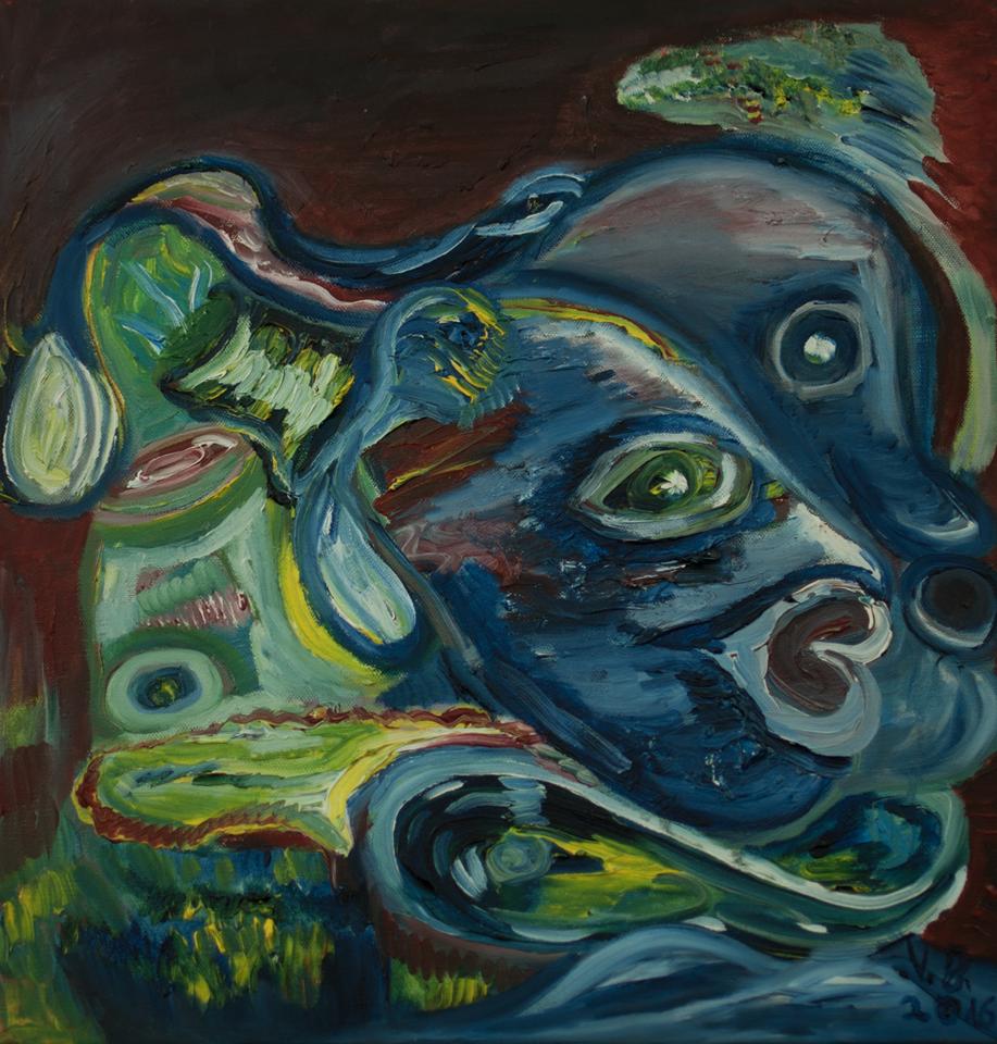 """Valentinas Jankauskis paveikslas """"Butelio ir žmogaus atvaizdas viename"""""""