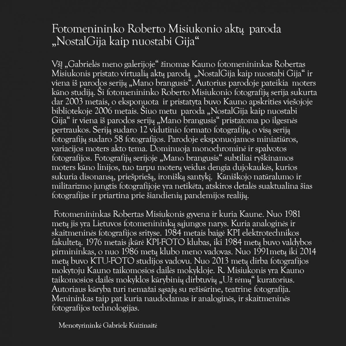 Robertas Misiukonis. Fotografijų paroda